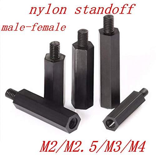 50 piezas macho a hembra M2 M2.5 M3 M4 * L + 6 tornillos espaciadores de nailon hexagonal negro columna espaciadora de plástico de nailon de cabeza plana, 15 mm, m3 50 piezas MF