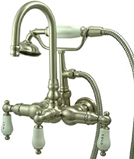 Kingston Brass CC9T8 Vintage Leg Tub Faucet with Hand Shower, Satin Nickel