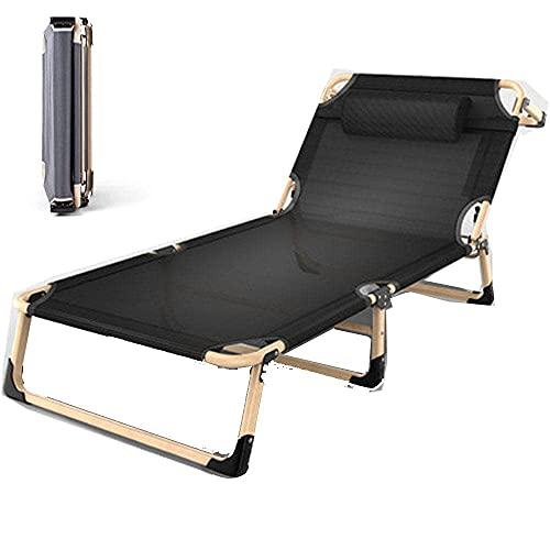 WGFGXQ Garden Lounger,Portable Folding Afternoon Nap Chaise Lounger Recliner, Strengen Tent Bed Camp Bed Deck Chair 194X68Cm-Black