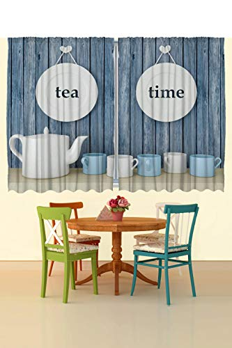 Ambesonne Tea Time Kitchen Curtains Country Themed Rustic Inspired Lettering On Plates Cups And Pot Illustration Window Drapes 2 Panel Set For Kitchen Cafe Decor 55 X 39 Blue White Wantitall