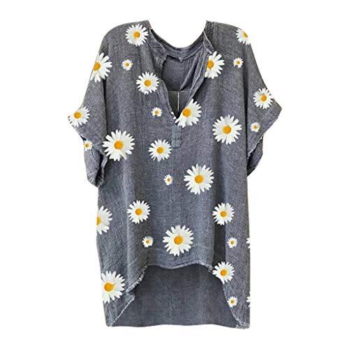 Lazzboy Store Top Plus Size Damen Kurzarm Bedruckt V-Ausschnitt T-Shirt Lose Lässige Bluse Sommer Oversize Shirt Mit Blumenmuster Rundhals Locker Bequem Oberteile(Grau,4XL)