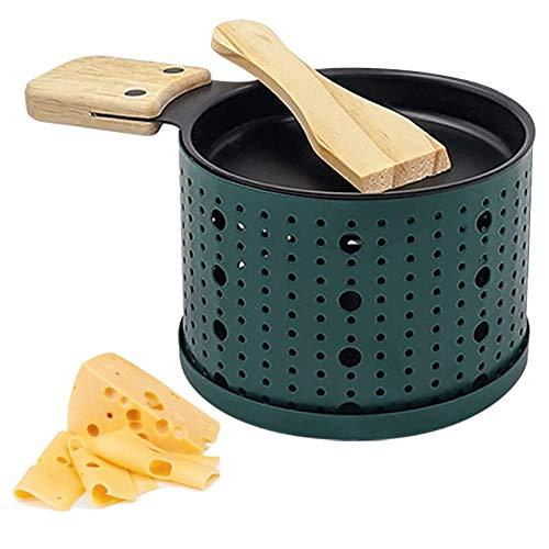 Mini Raclette Grill Set für 1 Personen, Teelicht Raclette mit Pfännchen & Schaber, Mini Käse-Raclette Gerät, Rund Raclette Stövchen (Grün)