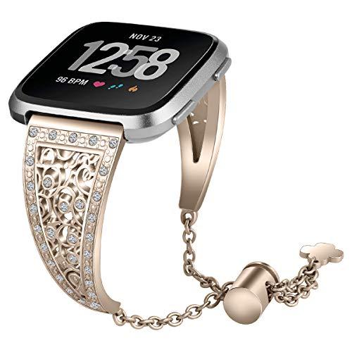 AISPORTS Compatible con Fitbit Versa 2 Correa de Cuero para Mujeres y Hombres, Elegante Deportiva de Pulsera Transpirable Correa de Repuesto para Reloj Inteligente Fitbit Versa 2/Versa/Versa Lite