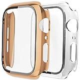 Fengyiyuda Hülle Kompatibel mit Apple Watch 38/42/40/44mm mit Anti-Kratzen TPU Panzerglas Bildschirmschutz Schutzfolie,360°Schutzhülle für iWatch Series 6/5/4/3/2/1/SE,2 Stück,Pink Gold/Clear