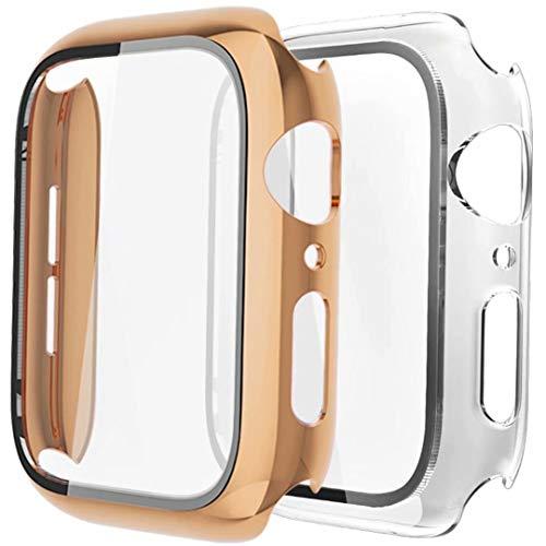 Fengyiyuda Funda[2 Unidades] Compatible con Apple Watch 38/40/42/44mm,Estuche con TPU Protector de Pantalla,Caja Protector Anti-Choque&arañazos Caso para IWatch Series se/6/5/4/3/2/1-Pink Gold/Clear