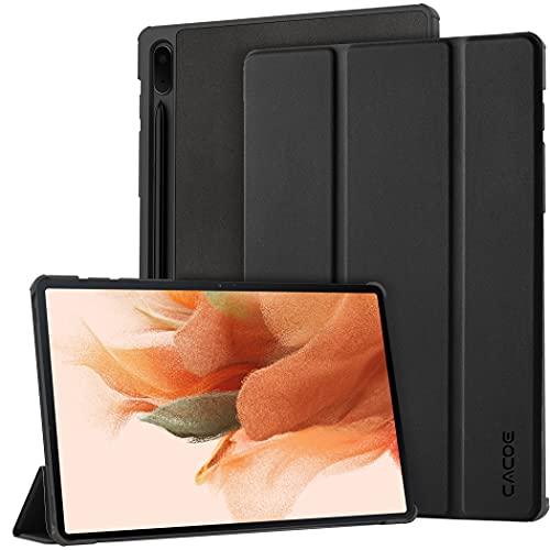 CACOE Hülle Kompatibel mit Samsung Galaxy Tab S7 FE 12.4 5G 2021 - Ultra Dünn mit Standfunktion Slim PU Leder Schutzhülle Passt für Galaxy Tab S7 FE 12.4 SM-T730/ T736, Schwarz