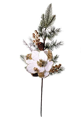 Stefanazzi 65cm 2 Ramas de Flores de Terciopelo de Pino con Bayas y piñas Adornos navideños realistas Adornos de la Puerta de la Chimenea Adornos de la casa de Entrada y Guirnalda de Navidad