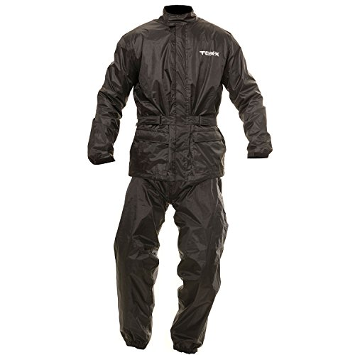 TOXX Motorrad Herren Damen Regenkombi Regenschutz Regenoverall Regenjacke und Regenhose 2Teiler schwarz (S)