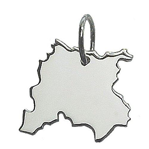 City Souvenir Shop Anhänger Landkarte Leipzig, 925er Sterling Silber