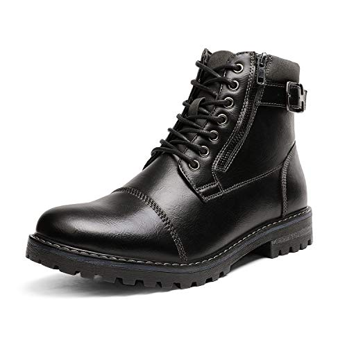 Bruno Marc Men's Engle-05 Black Motorcycle Combat Oxford Boots Size 12 M US
