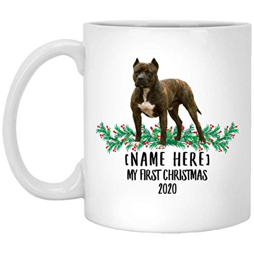 Divertido nombre personalizado American Bully Yellow Brindle First Christmas 2020 Taza de café blanco 11 oz