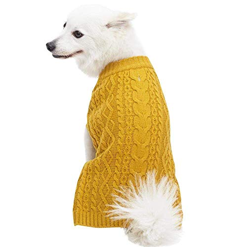Blueberry Pet Classic Wool Blend Cable Knit Pullover Dog Sweater in Mustard, Back Length 12', Pack of 1 Clothes for Dogs