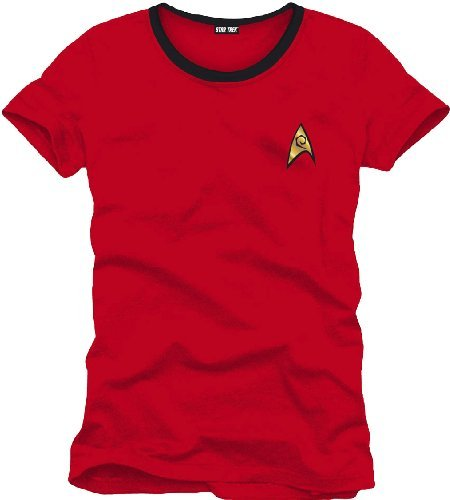 Star Trek Red Uniform Hombre Camiseta Rojo M, 100% algodón, Regular