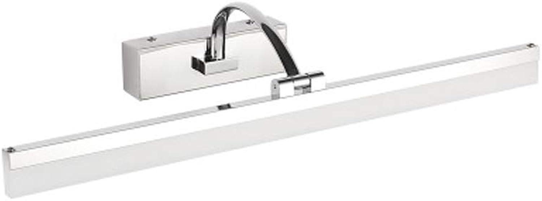 QqHAO Edelstahl-Spiegel Scheinwerfer LED-Bad Bad feuchte Spiegelschrank Licht modernen minimalistischen umkleidetisch Spiegel Licht