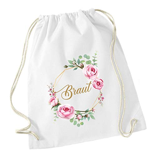 Mein Zwergenland Livingstyle & Wanddesign Junggesellinnenabschied JGA Blumenkranz Turnbeutel, 12 L, Braut, einzeln, weiß