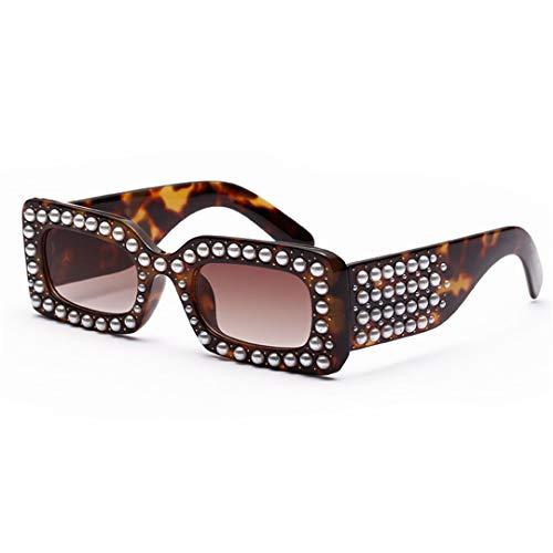 DAIYSNAFDN Quadratische Sonnenbrille Frauen Perle Rihanna Sonnenbrille Perle Frames Lentes Eyewear 5