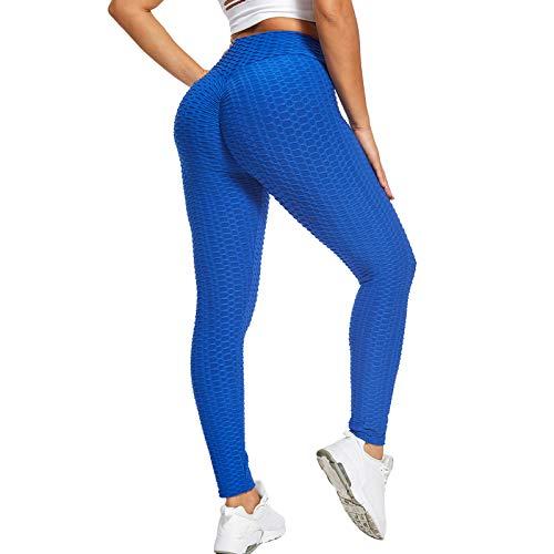Sfit Leggins Mujer Push Up Mallas de Deporte de Mujer Cintura Alta Malla Celular Pantalón de Elásticos Butt Lifter Anti-Cellulite Deportivos Leggings para Yoga Pilates (A# Azul, L, l)