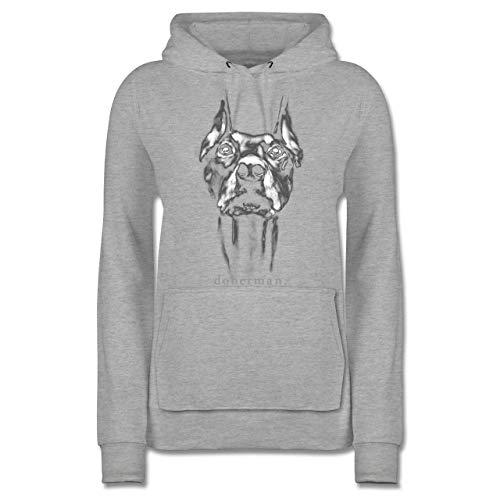 Hunde - Doberman - M - Grau meliert - Hunde Bekleidung - JH001F - Damen Hoodie und Kapuzenpullover für Frauen