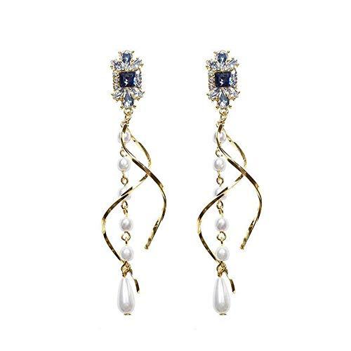 WFZ17 Pendientes largos de perlas de imitación con diamantes de imitación trenzados, para mujeres y niñas, color dorado