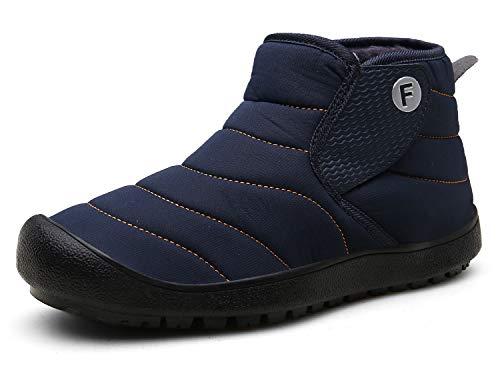 Gaatpot Herren Damen Winterschuhe Warm Gefüttert Schneestiefel Flache Kurz Stiefel rutschfest Leicht Winter Sneaker Schneeboots Blau 43EU=44CN