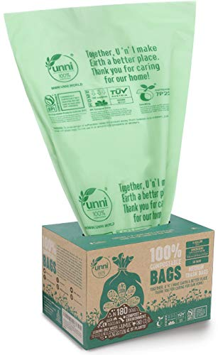 UNNI ASTM D6400 100% Compostable Trash Bags, 6-8 Gallon, 30L, 50 Count, Heavy Duty 0.85 Mils, Medium Home Garbage Liners, Portable Toilet Replacement Bags, US BPI and Europe OK Compost Home Certified in Box