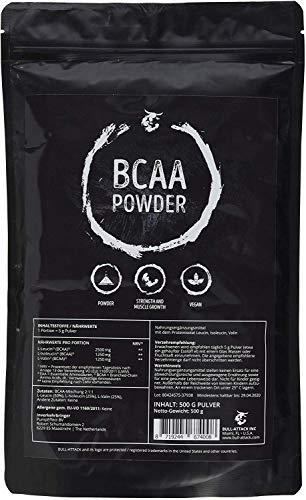 BCAA 500g Pulver - Big Pack XL | 100% Rein ohne Zusätze | L-Leucin + L-Isoleucin + L-Valin | Im Verhältnis 2:1:1 | Essentielle Aminosäuren | Antikatabol + Anabol | Muskelaufbau, Muskelschutz & Regeneration | Top Qualität made in Germany
