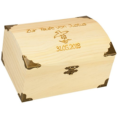 Geschenke 24: Schatzkiste zur Taufe mit Gravur Schatztruhe Piraten-Schatztruhe Antike Holztruhe Bauernkasse - originelles Geldgeschenk 18er