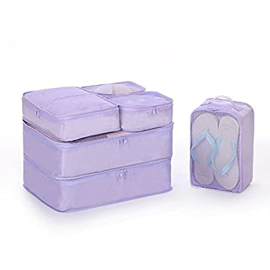 JJ POWER Lightweight Travel Packing Cubes –Multi function, Durable 6 Piece (Purple)
