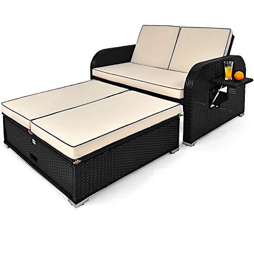 Deuba Poly Rattan Sonnenliege Lounge 7cm Auflage Lehne 5-Fach Verstellbar 2 Klapptische 2 Sitzer Sofa Gartenmöbel Gartenliege