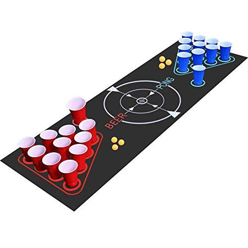 Fabu Beer Pong Kit, Juegos de Bebida, Juego Completo Beer Pong, Alfombra de Juego Beer-Pong, 22 Tazas, 6 Pelotas, para Juego de Noche y Juego de Barbacoa para Adultos(180cm * 60cm)