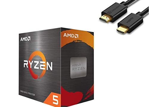 AMD Ryzen 5 5600X 4th Gen 6-core Desktop Processor with Wraith Stealth Cooler, 12-Threads Unlocked, 3.7 GHz Up to 4.6 GHz, Socket AM4, Zen 3 Core Architecture, IST Computers HDMI Cable