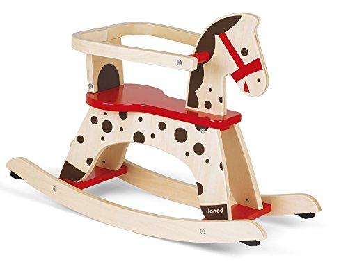 Janod - J05984 - Balancín con diseño de caballo Caramel de color marrón y rojo para aprendizaje del equilibrio para niños a partir de 1 año
