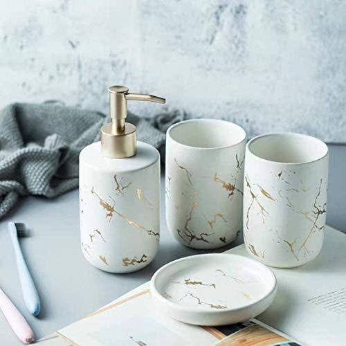 FülleMore 4-teiliges Keramik Bad-Zubehörset Marmor Optik Badaccessoires 300ml Seifenspender,Seifenschale, Zahnbürstenhalter/Zahnputzbecher Badezimmer Set (Weiß)