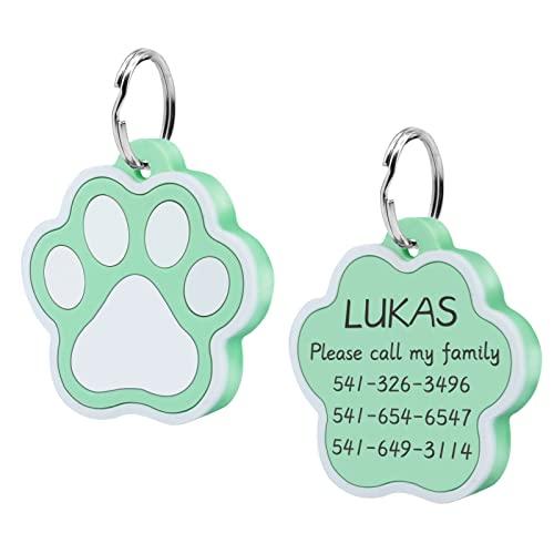 CAMAL 2 Piezas Chapa Perro Grabada, Silenciosa Silicona Chapas Personalizadas, Placa de Identificación Personalizada para Collar Perro Gato Mascota Grabada, Forma de Huella, Verde