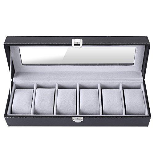 Femor Uhrenbox für 6 Uhren mit Glasfenster Watch Box Uhren Aufbewahrung aus PU Leder und Samt Schwar