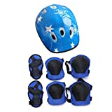 ASFD 7PCS / Set Universal Children Kids Juego de Equipo de protección Cómodo patineta Patineta Ciclismo Rodilleras Coderas Set (Azul)