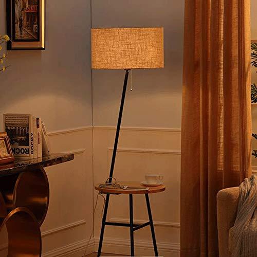 Vast Creatieve staande lamp, led-vloerlamp met tafel, leeslamp voor woonkamer slaapkamer, massief houten vloerlicht 319