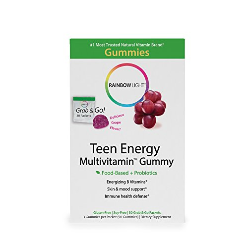 Rainbow Light - Teen Energy Multivitamin Gummy - Provides Antioxidants and Probiotics, Supports Energy, Mood and Stress-Response, Immunity, and Digestion in Teens - 30-Pack Box