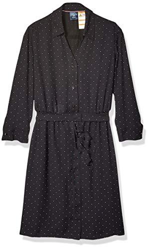 Tommy Hilfiger Damen Tie Waist Shirtdress with Hidden Magnetic Closure Freizeitkleidung, Das Deep Black, X-Groß