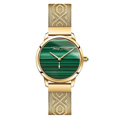 THOMAS SABO Damen Analog Quarz Uhr mit Edelstahl Armband WA0365-264-211-33 mm