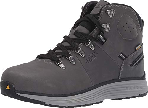 "KEEN Utility Men's Manchester 6"" Alloy Toe Waterproof Work Boots Construction Boots, Forged Iron/Black, 13 2E (Wide) US"
