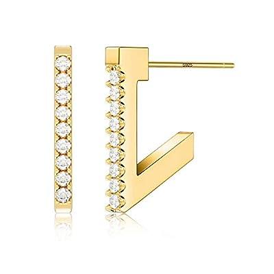 S925 Sterling Silver Post Hoop Earrings for Wom...