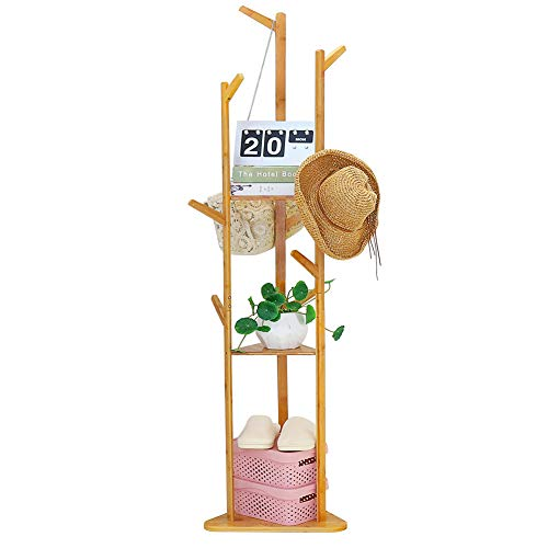 Bamboo Coat Rack Tree Freestanding Clothes Tree Hat Rack Stand with 3 Shelves and 10 Hooks 158X158X669inch