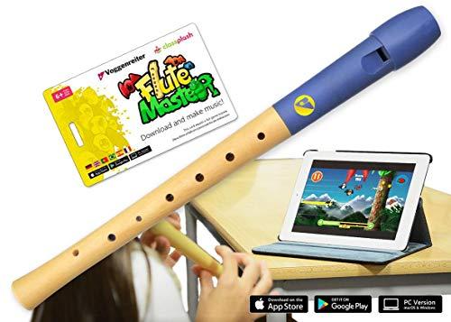 VoggenreiterBlockflöte aus Holz & Kunststoff für Kinder ab 6 Jahre und Anfänger inkl.Flute Master(Lernsoftware App)-deutscheGriffweise & blauer Flötenkopf 1142-7