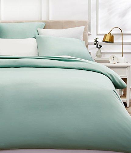 AmazonBasics - Bettwäsche-Set, Fadendichte 400, Baumwollsatin, 155 x 200 cm und zwei Kissenbezügen, 80 x 80 cm, Hellgrün(Seafoam Green)
