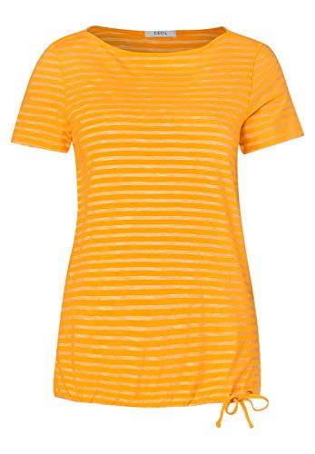 Cecil Damen 314911 Fine Stripe T-Shirt, Mango Yellow, X-Large