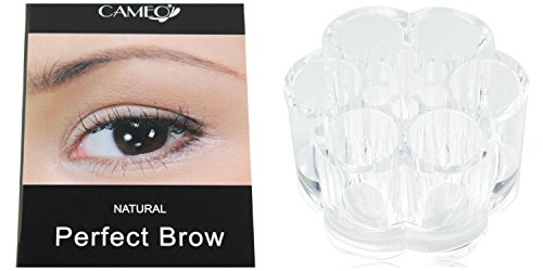 Cameo Cosmetics Perfect Brow Natural Brown Eyebrows with Clear Acrylic Flower Cosmetic Organizer by Cameo Cosmetics
