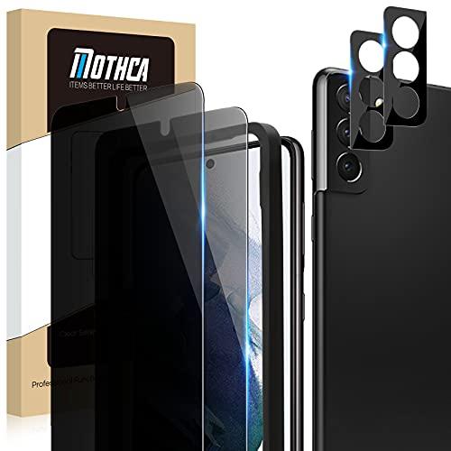 Mothca [2+2 stuks] Anti-Spy Screen Protector voor Samsung Galaxy S21(6,2 inch) Gehard Glass Privacy Film met Camera Lens Protector Gemakkelijk te Installeren, Anti-kras, Geen Luchtbellen