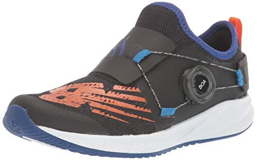 New Balance unisex child Fuelcore Reveal Boa V2 Alternative Closure Running Shoe, Black/Marine Blue, 1 Little Kid US