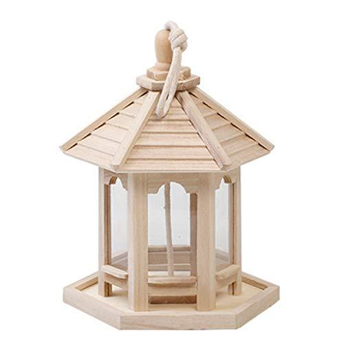 JIACUO Birdcage Wooden Hanging Bird Feeder Outdoor Wasserdichter Spender Pure Natural
